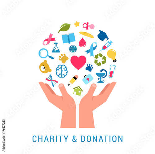 Charity, giving and donation poster template Fototapete