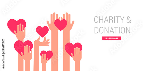 Charity, giving and donation poster template Fototapeta