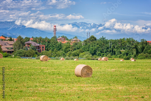 Foto op Canvas Pistache Rural landscape on a beautiful summer day, Tuscany countryside with Alps mountains and blue cloudy sky background, Italy