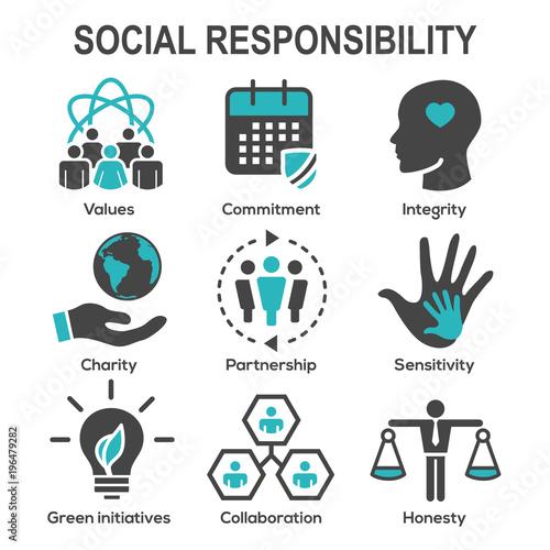 Fotografie, Obraz  Social Responsibility Solid Icon Set w Honesty, integrity, & collaboration, etc