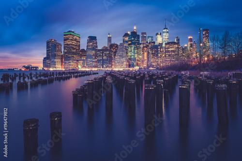 City skyline at night viewed from Brooklyn Bridge Park, Manhattan, New York, America, USA