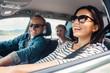 Leinwandbild Motiv Happy family ride in the car