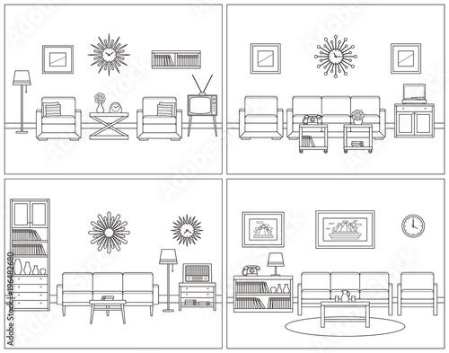 Retro Room Interior Vector Linear Living Room Set Flat Design