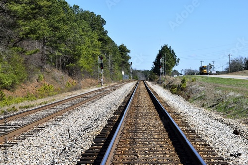Railroad Railroad crossing tracks background