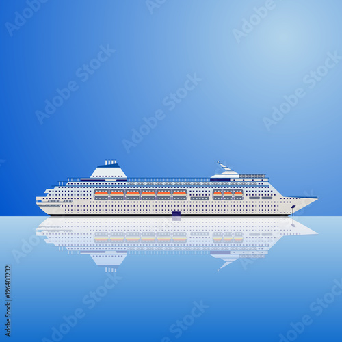 Fotografie, Obraz  Vector illustration of a white ocean liner on a blue background.