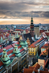 Sunset over the town hall and old town in Wroclaw, Silesia, Poland