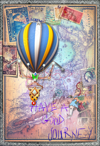 Poster Imagination Old map with hot air balloon and tarot figure
