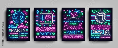 Nightclub party collection of posters. Night party, Neon sign, neon sign flyer, disco ball, musical night poster template, bright neon advertising, concert, disco, festival. Vector Illustrations - 196491255