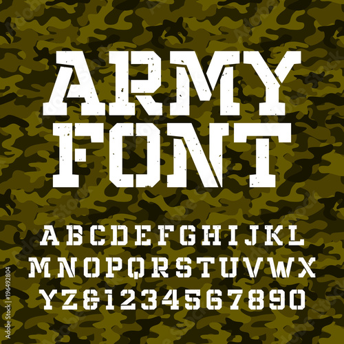 Army stencil alphabet font  Type letters and numbers on a green camo