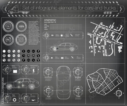 Futuristic user interface. Infographics of freight transport and ...