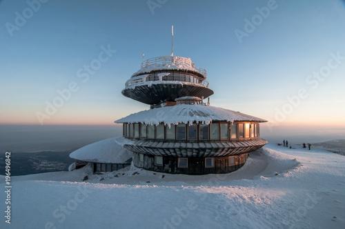 Fototapeta Winter sunset in Karkonosze Mountains, Karkonosze, Krkonose Poland, Karpacz obraz