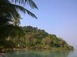 Blue sky over a beautiful tropical beach with green palm trees. Koh Kood Island , Thailand