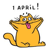 Cute Fat Orange Cat Stretched ...