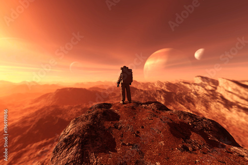 Foto auf AluDibond Rotglühen astronaut enter into derelict planet or doing some exploration on a new planet he discover,3d rendering of sci-fi concept