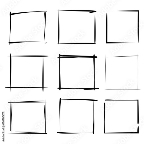 Fotografie, Obraz  blank grunge rectangle frame set