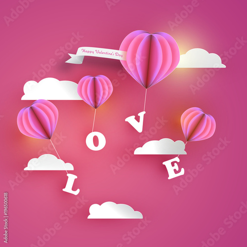Abstract pink heart hot air balloons carrying love letter in pink abstract pink heart hot air balloons carrying love letter in pink sky with white clouds m4hsunfo