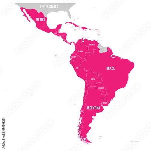 Political map of Latin America. Latin american states pink ...
