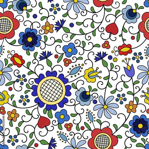 Fotografija  Traditional, modern Polish - Kashubian floral folk pattern vector
