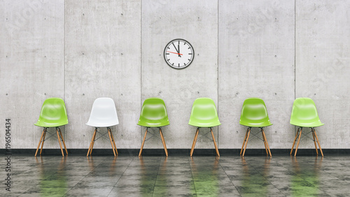 Fotografía  Row of green chairs in a waiting room with wall clock, business concept image -