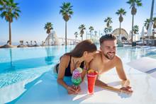 Young Couple On Infinity Pool ...