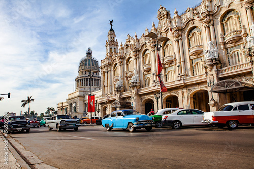 Photo Traffic in front of the Capitol and the National Theatre (Alicia Alonso) near th