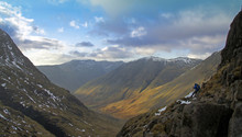 Beautiful Snowy Lake District Autumn Winter Hike Scafell Pike View Scramble