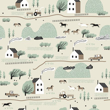 Seamless Colorful Pattern With House,trees, Horses And Hills. Nordic Nature Landscape Concept. Perfect For Kids Fabric,textile,nursery Wallpaper.