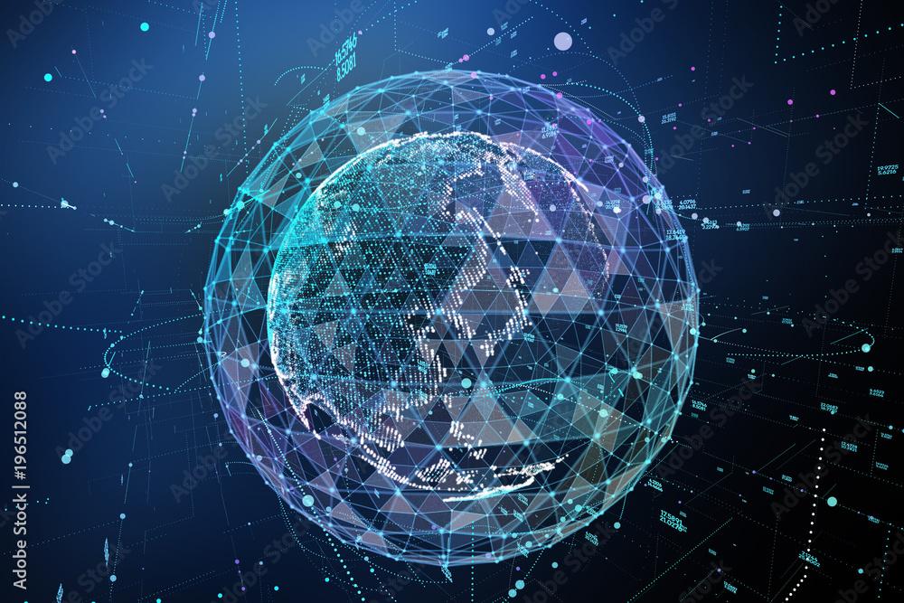 Fototapeta Earth, representing global network connection, international meaning. 3d illustration
