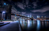 Fototapeta New York - Brooklyn Bridge and New York skyline from Brooklyn
