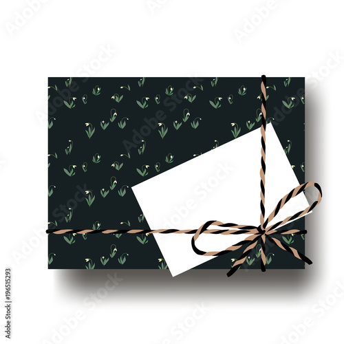 Hand drawn snowdrops gift present box with tied string bow and blank