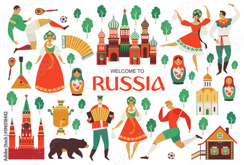 Obraz Welcome to Russia. Russian sights and folk art. Football championship in 2018. Flat design Vector illustration. - fototapety do salonu