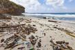 Plastikmüll am Strand der Insel Christmas Island im indischen Ozean