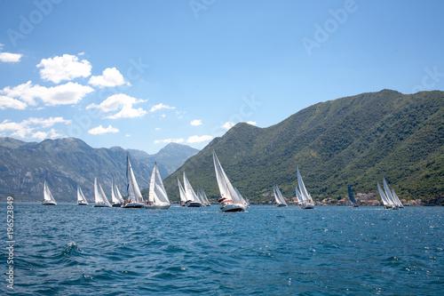 Fotografia sailboats during the regatta Fashinada Cup, Perast, Montenegro