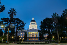 Night View Of The Historical California State Capitol
