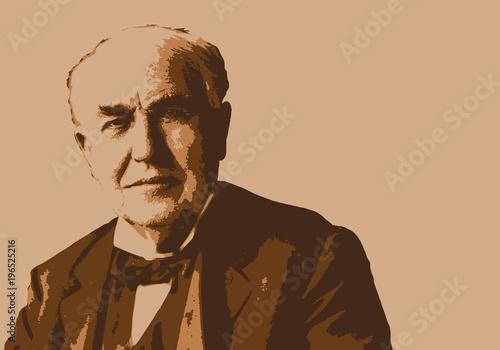 Obraz na plátně Edison - portrait - Thomas Edison - inventeur -électricité - industriel - cinéma