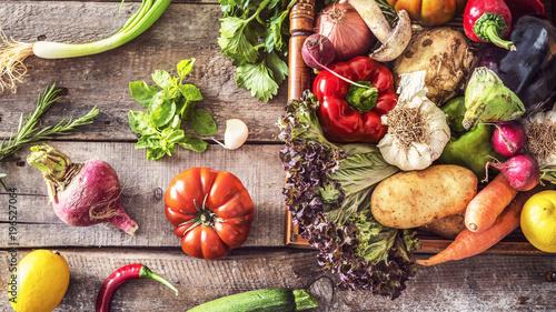 Fotografie, Obraz  Organic vegetables healthy nutrition concept on wooden background