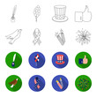 American eagle, ribbon, salute. The patriot's day set collection icons in outline,flet style vector symbol stock illustration web.