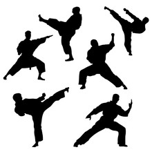 Black Silhouette Of Karate On ...