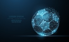 Soccer Ball. Low Poly Wireframe Mesh On Dark Blue Background. Soccer Symbol, Illustration Or Background