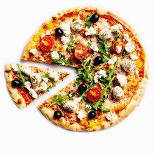 Pizza With Tomatoes, Meat, Mozzarella Cheese, Black Olives And Herbs.