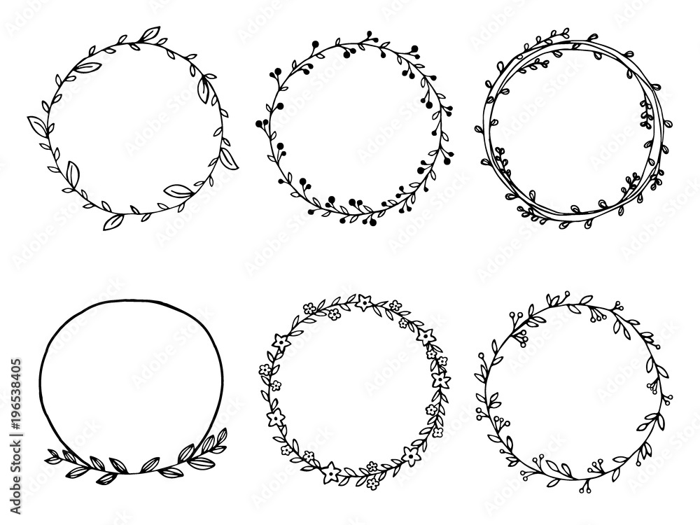 Fototapeta Hand drawn of wreath set vector design. floral leave for Cards and invitations.