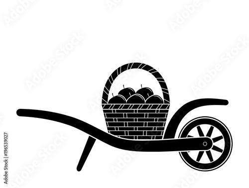 wheel barrow and basket of apples Fototapete