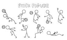 Set Stick Figure Of Football P...