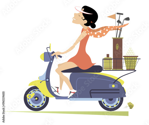 Smiling woman on the scooter is on the way to the golf course isolated on white illustration