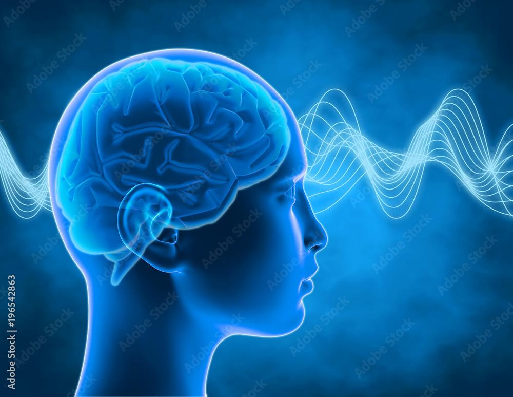 Fototapeta Brain waves, thinking, intelligence concept, thinking process abstract illustration 3d render.