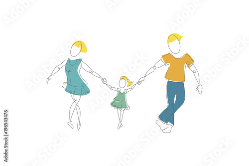 Foto op Canvas Bloemen vrouw Continuous line drawing of happy family. Father, mother and daughter. Color drawing.