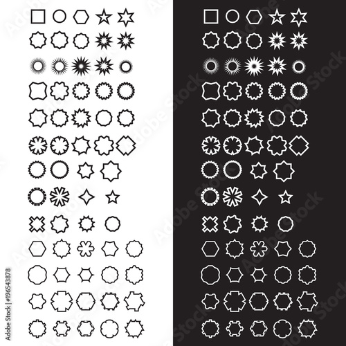 Fotografering  A collection/set of 63 basic shapes. Black and white variations