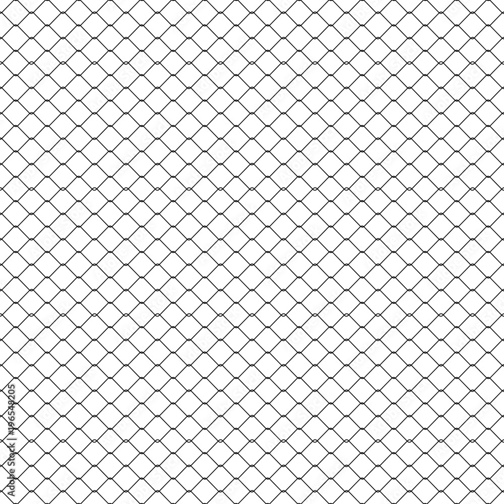 Fototapeta White seamless texture. Structure of metal mesh fence. Realistic. Vector background.
