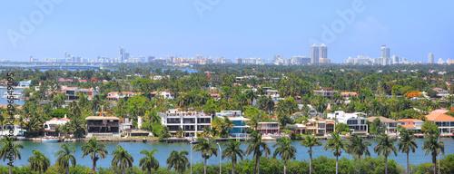 Aluminium Prints New Zealand Panoramic view of Miami city from Ocean