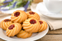 Biscuits With Jam On Wooden Ta...